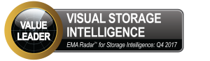 """A badge with a circle on the left. In the circle reads """"value leader. On the main badge reads """"Visual storage intelligence - EMA Radar for Storage Intelligence: Q4 2017"""""""