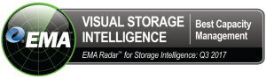 """A badge with a circle on the left hand side. In the circle reads """"EMA"""". On the badge reads """"Visual Storage Intelligence - Best capacity management - EMA Radar for Storage Intelligence: Q3 2017"""""""