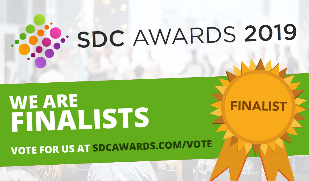 "Banner image with title that reads ""SDC Awards 2019 - We are finalists - vote for us at sdcawards.com/vote"""