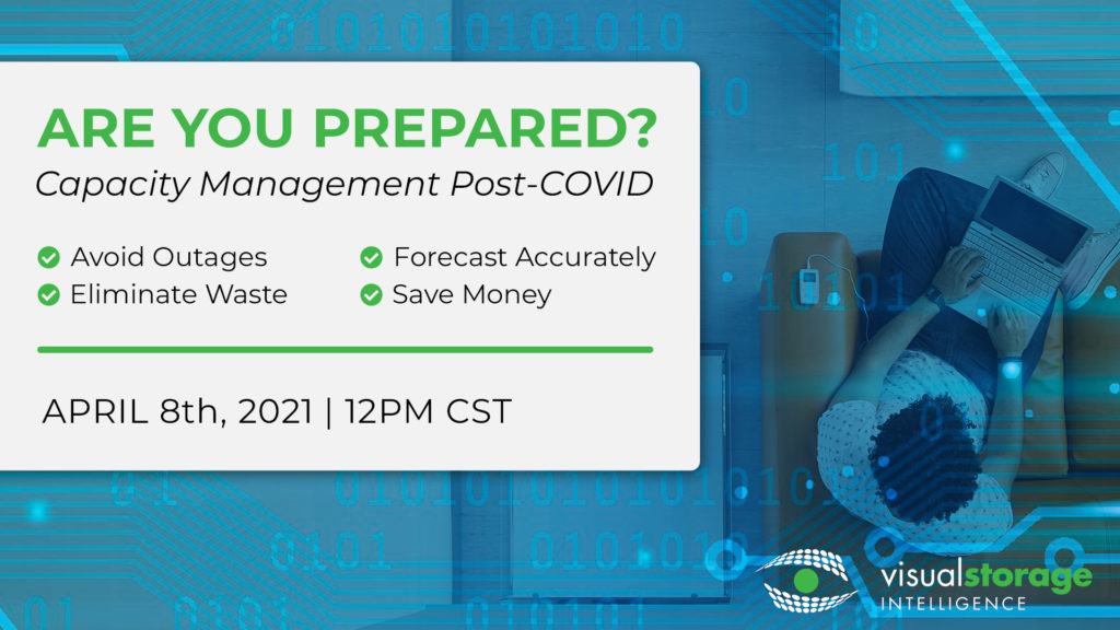 """Promotional event photo. Headline reads """"Are you prepared? Capacity management post-COVID""""; an array of 4 items with check marks next to them read """"Avoid outages, forecast accurately, eliminate waste, save money""""; bottom says """"April 8th, 2021 12PM CST"""""""