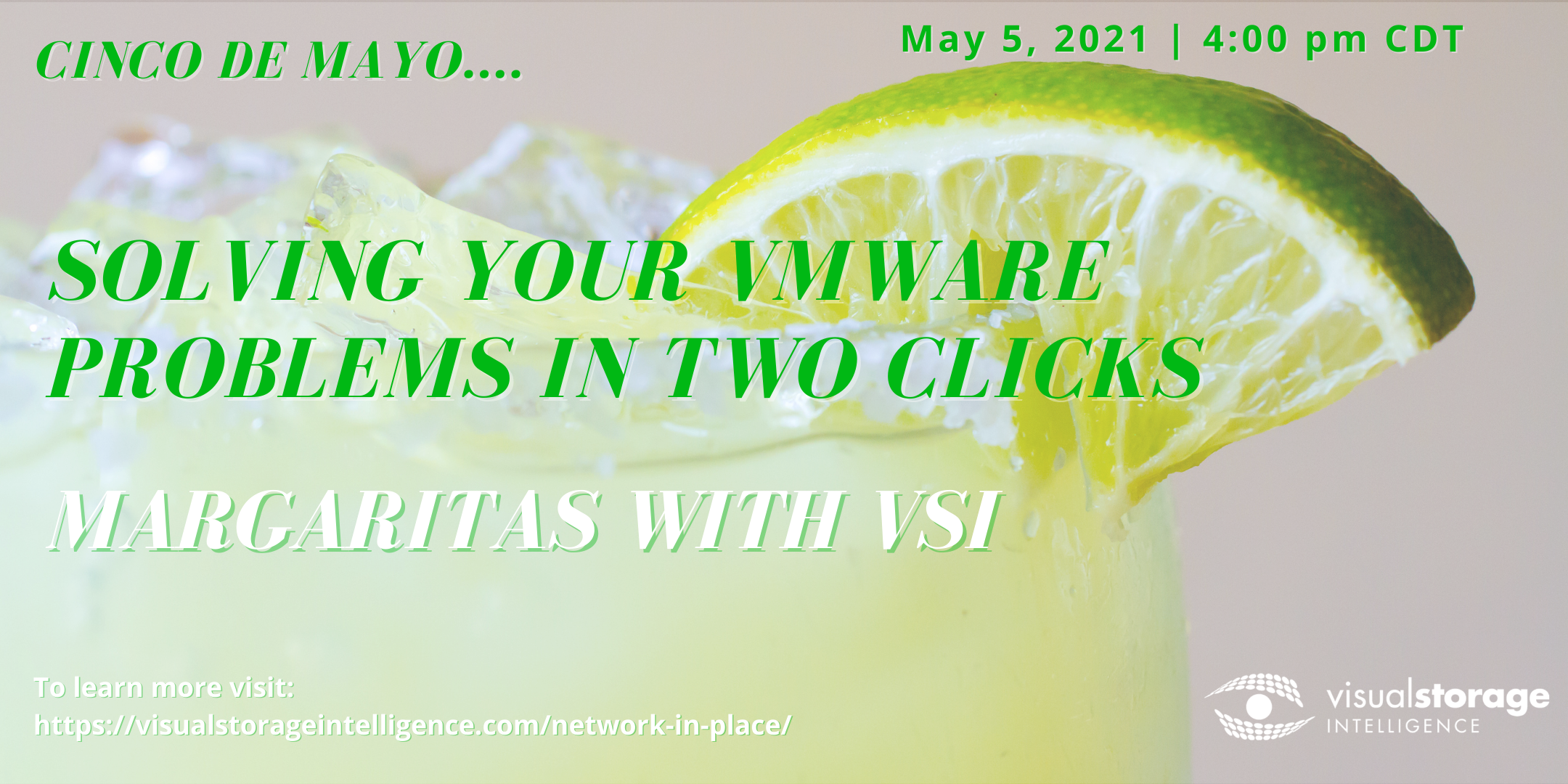 """Webinar invitation image from VSI--title reads """"Solving your vmware problems in two clicks"""""""