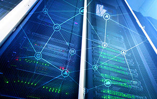 hyperconverged infrastructure | blue and green data technology grid